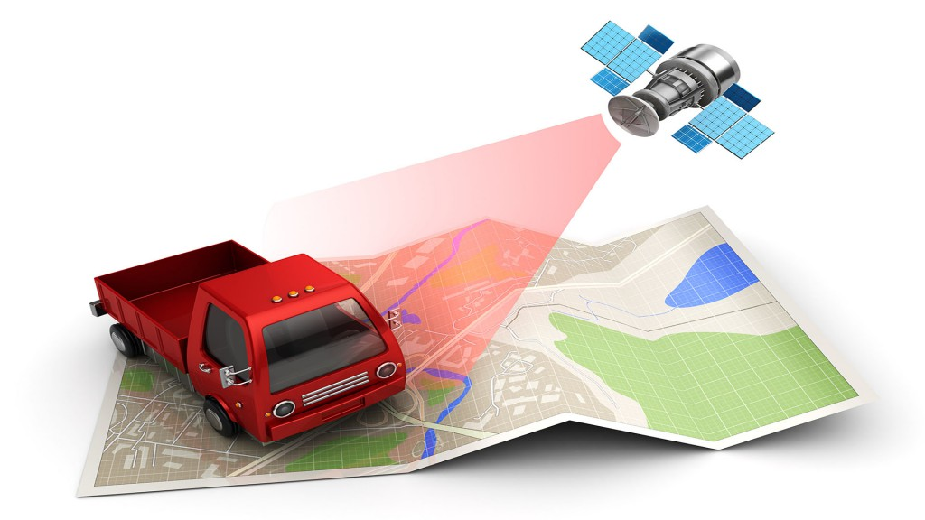 3d illustration of satellite cargo or truck tracking concept